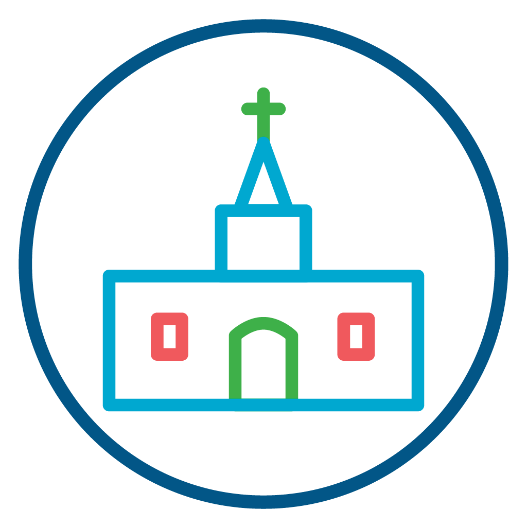 Church Building Icon Symbolizing the Christian Church