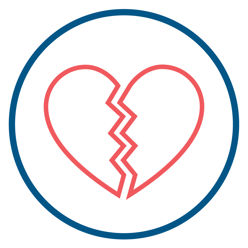 Broken Heart Icon Symbolizing separation from God